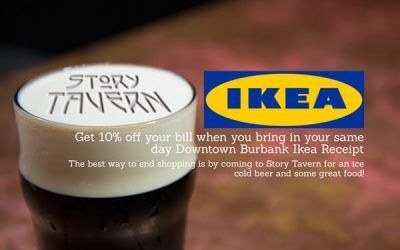 Get 10 % off your total bill when you bring in your same day receipt from the Downtown Burbank Ikea
